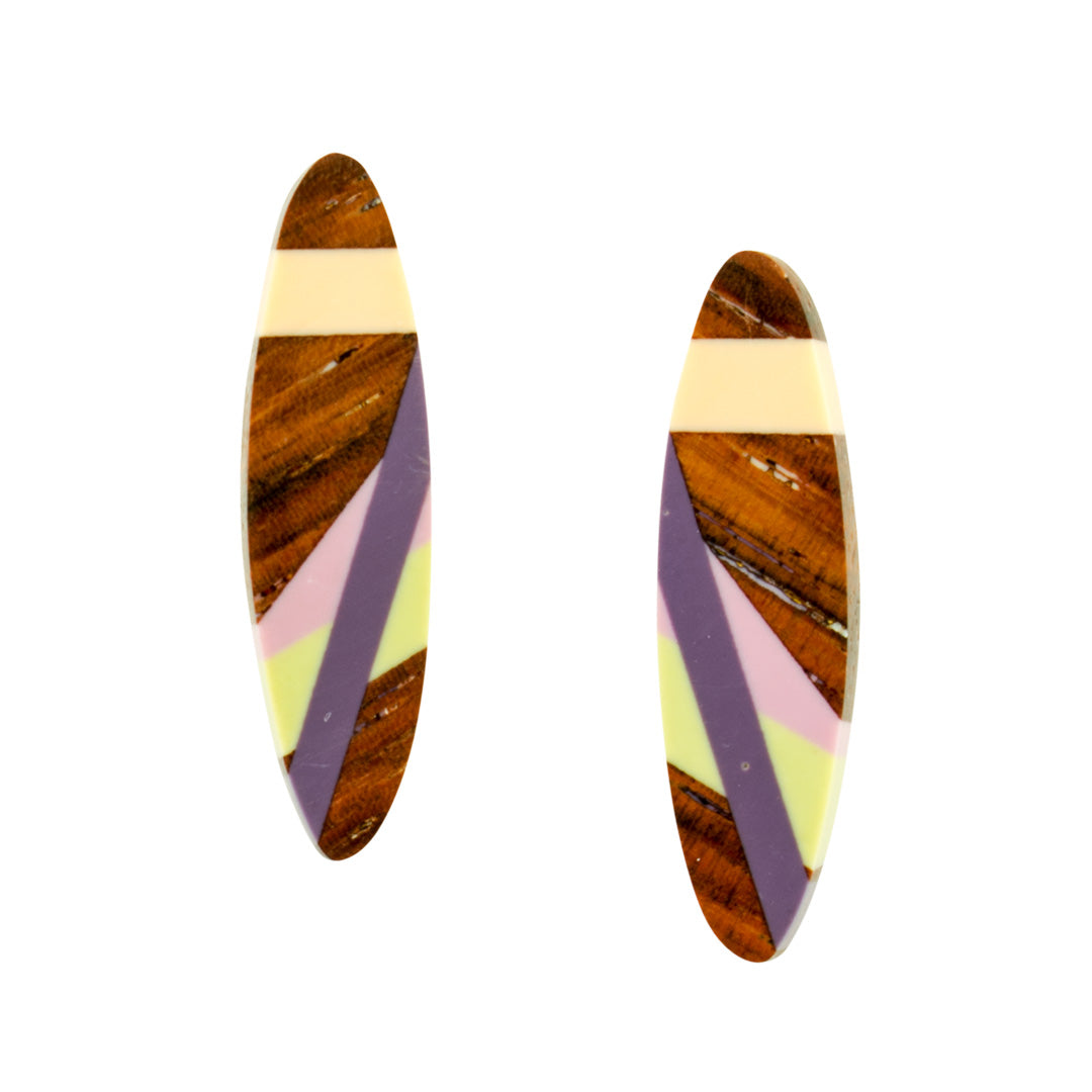 Laura Jaklitsch Jewelry Wood and Polyurethane Desert Iris Stud Post Earrings East Indian rosewood with purple, peach and celery green