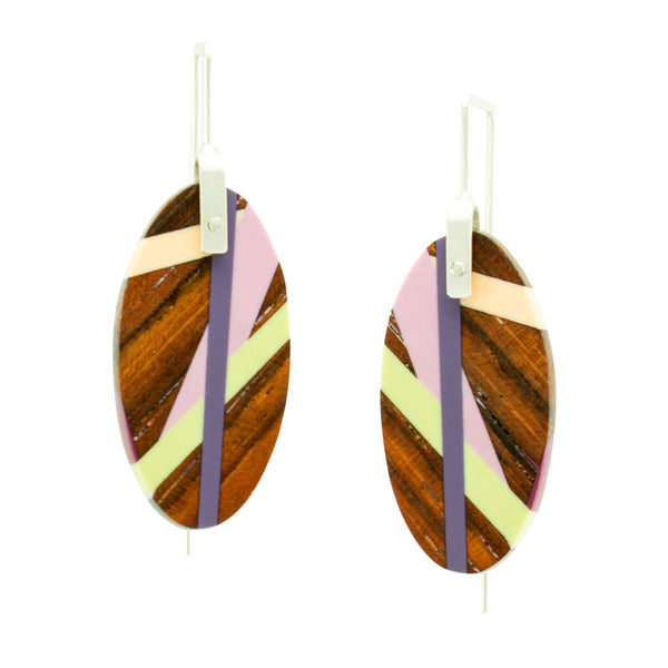 Desert Iris Oval Earrings Wood Jewelry by Laura Jaklitsch Jewelry