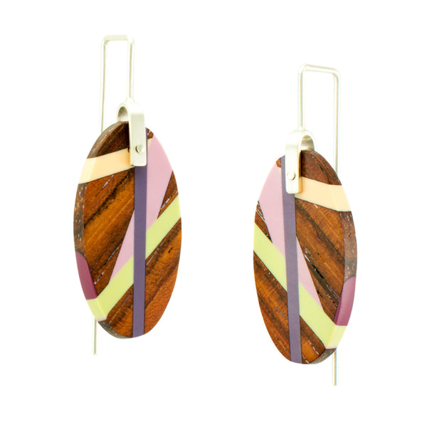 Rosewood Earrings with Resin Inlay in Pastel Colors Side View