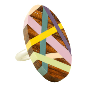 Laura Jaklitsch Jewelry Wood x Polyurethane Desert Rose Rosewood Sterling Silver One of a Kind Ring