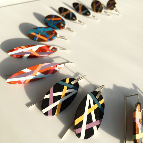 Sustainable Fashion Recycled Exotic Wood and Polyurethane Resin Earrings