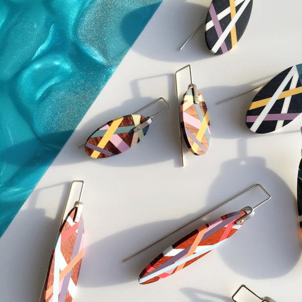 Laura Jaklitsch Jewelry Wood Earrings Inlaid with Polyurethane Resin