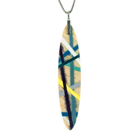Laura Jaklitsch Jewelry Wood x Polyurethane Long Tab Feather Necklace