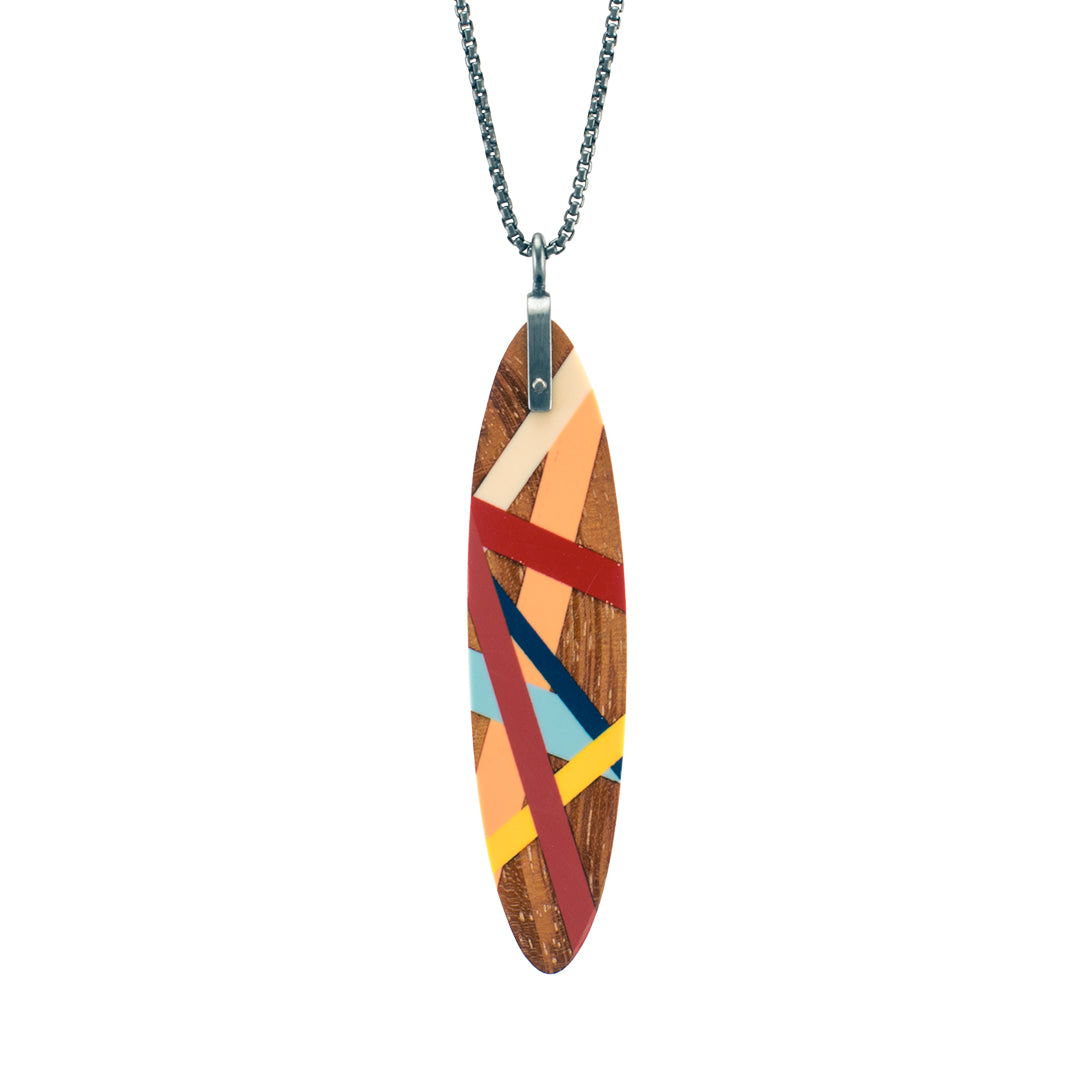 Laura Jaklitsch Jewelry Wood x Polyurethane Osage Orange Flame Pendant Necklace