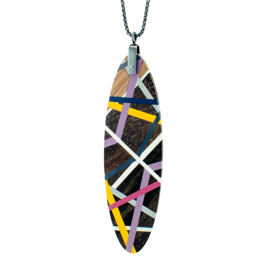 Laura Jaklitsch Jewelry Wood x Polyurethane Long Tab Gradient Pendant Necklace