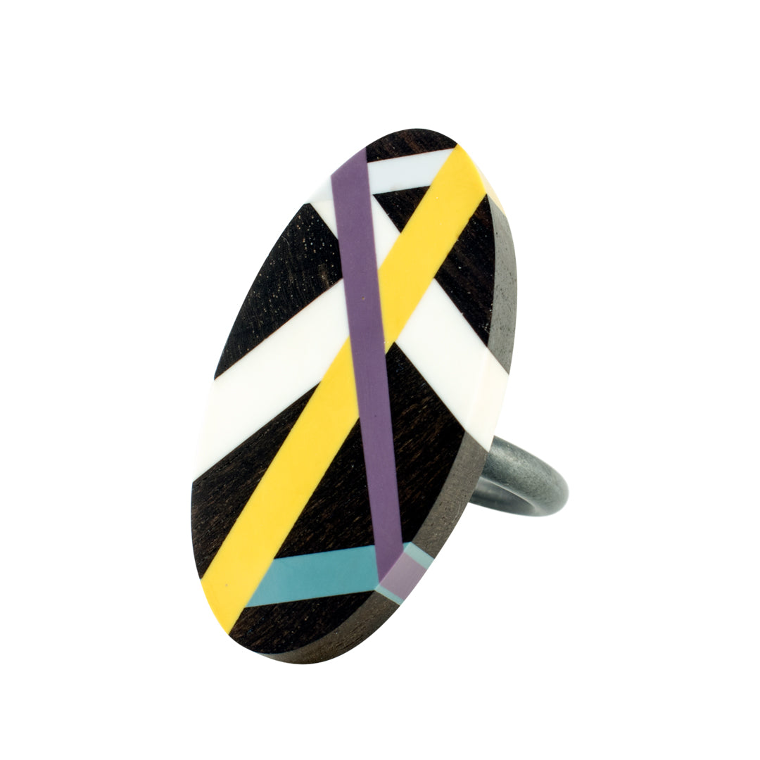 Black Jewelry Wood Ring with Polyurethane Resin Inlay in Yellow Purple and Blue Handmade by Laura Jaklitsch Jewelry