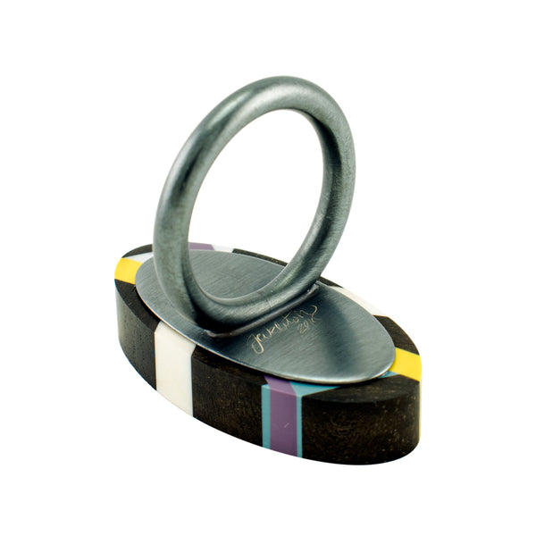Laura Jaklitsch Jewelry Wood x Polyurethane Graphic Lines Ebony Cocktail Ring Back