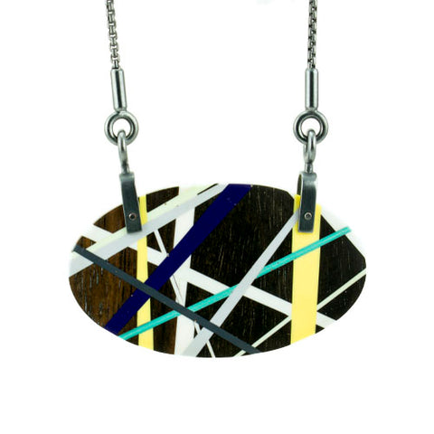 Laura Jakitsch Jewelry Wood and Polyurethane Blackwood Hardware Necklace