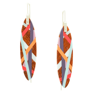Laura Jaklitsch Jewelry Padauk Wood and Polyurethane Resin Bird of Paradise Earrings