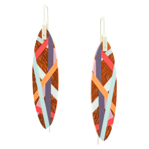 Padauk Wood Jewelry with Polyurethane Resin Inlay Bird of Paradise Lightweight Earrings