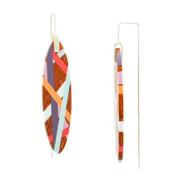 Laura Jaklitsch Jewelry Wood and Polyurethane Resin Bird of Paradise Earrings Side View