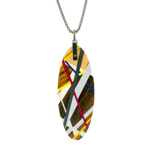 Laura Jaklitsch Jewelry Wood x Polyurethane Rosewood Large Tab Pendant