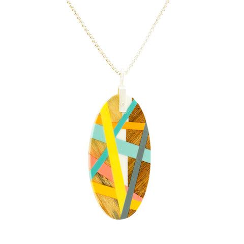 Oval Wood Necklace with Yellow, Blue, Pink, and Orange Resin Inlay and Sterling Silver Chain