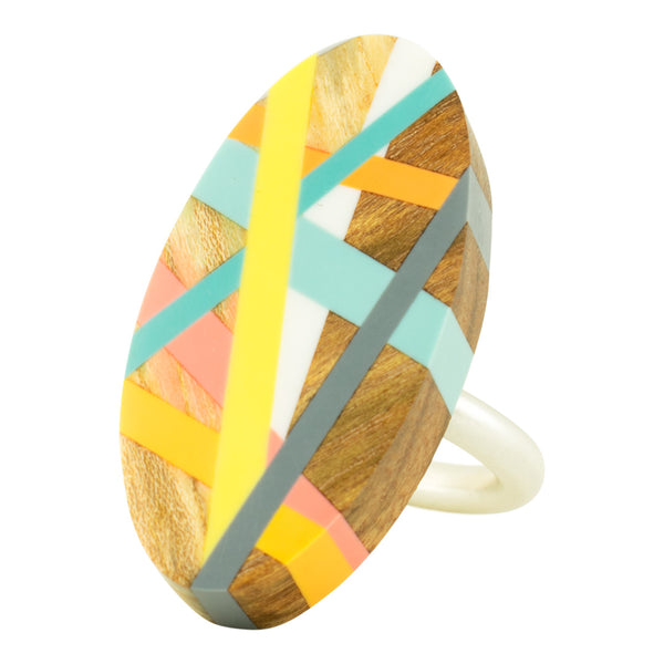 Oval Statment Cocktail Ring Handmade with Wood and Resin Inlay