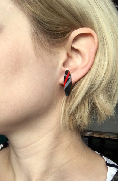 Black + Red Long Oval Post Earrings