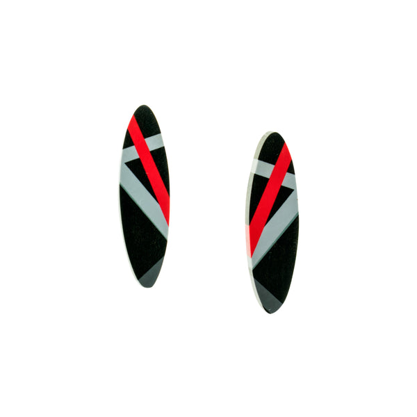 Ebony Earrings in Black and Red