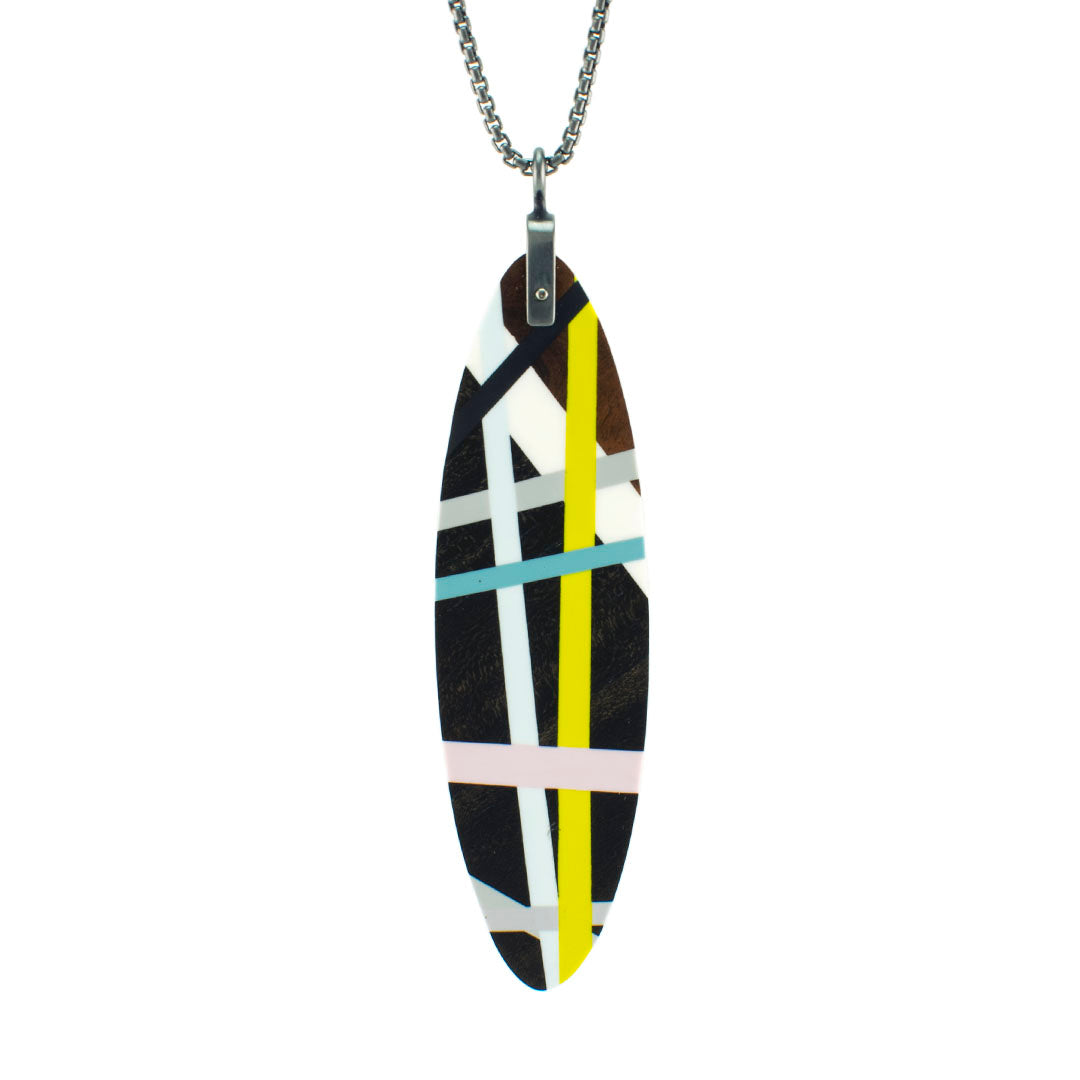 Laura Jaklitsch Jewelry Wood x Polyurethane Long Ebony Pendant Necklace