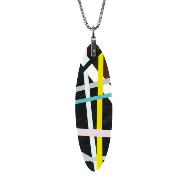 Long Wood Oval Pendant Necklace with Resin Inlay