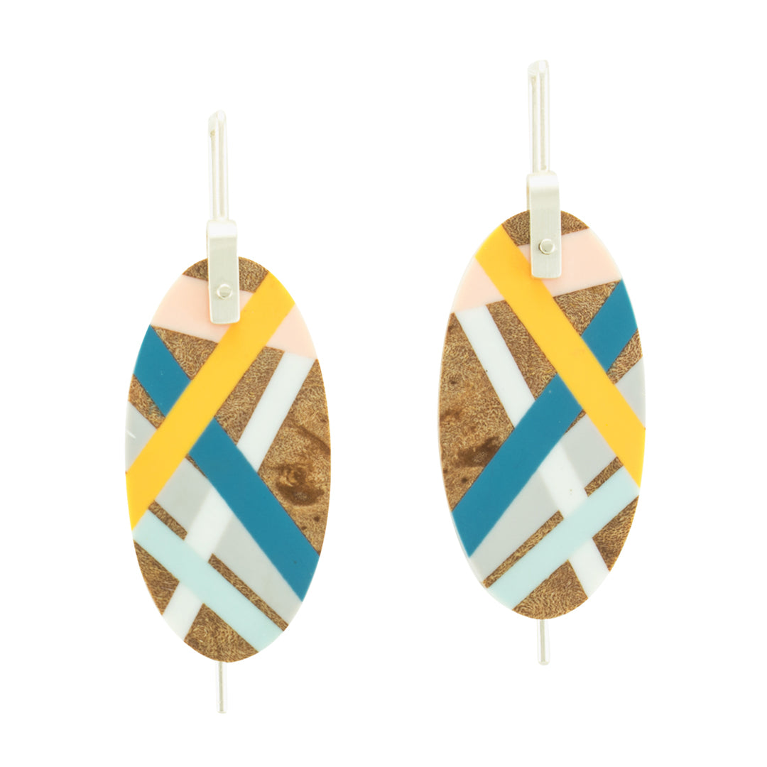 Oval Wood Jewelry Lightweight Earrings with Inlay Handmade by Laura Jaklitsch Jewelry