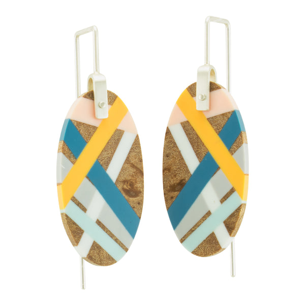 Wood Jewelry Marina Earrings in Maple Wood with Resin Inlay