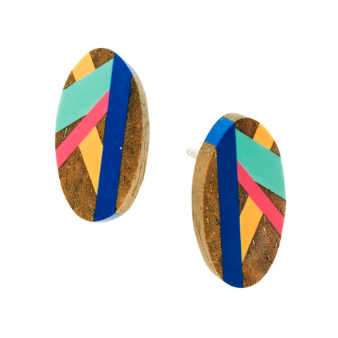 Laura Jaklitsch Jewelry Wood x Polyurethane Bird of Paradise Sterling Silver Stud Earrings Cobalt Blue Teal Pink Peach Walnut Handmade One of a Kind