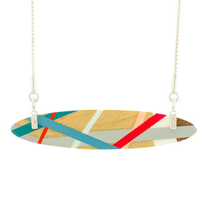 Wood Jewelry Red, Blue, and Grey Necklace with Sterling Silver Chain