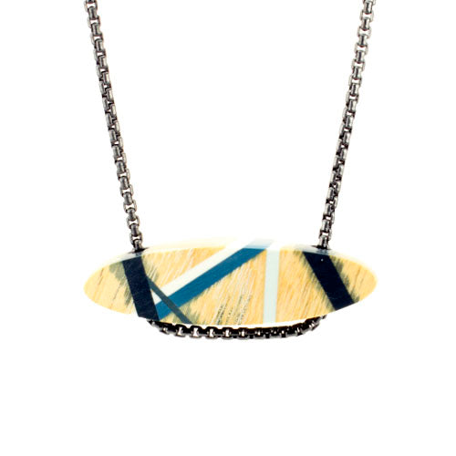Wood Necklace with Monochromatic Resin Inlay and Oxidized Sterling Silver Chain