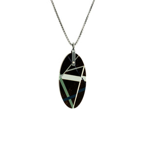Black Wood Jewelry Oval Pendant Necklace