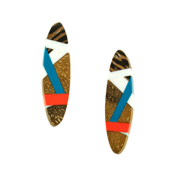 Wood Jewelry Stud Earrings with Blue and Coral Red Resin Inlay Handmade by Laura Jakllitsch
