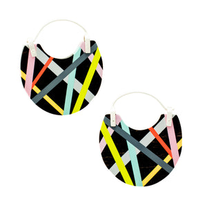 Neon Hoop Earrings Black Ebony Wood Jewelry