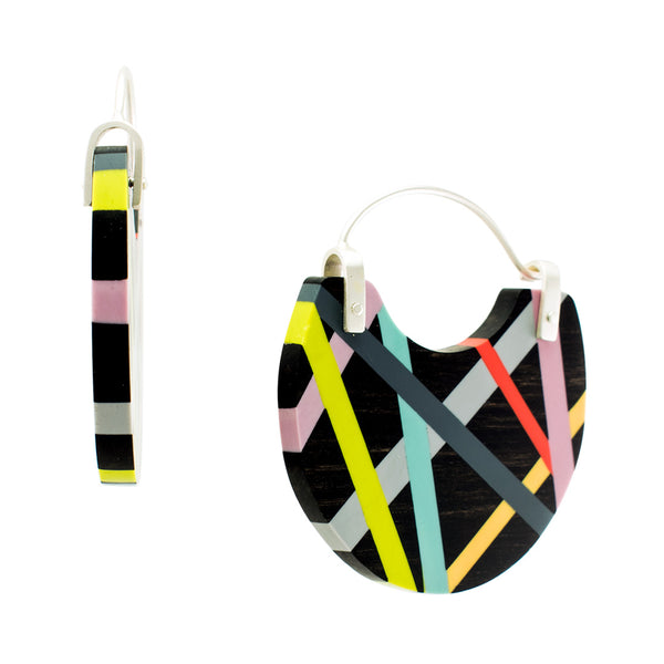 Black Jewelry Hoop Earrings with Bright Neon Resin Inlay Side View