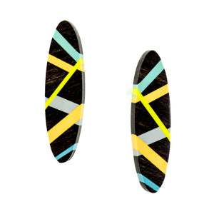 Laura Jaklitsch Jewelry Wood x Polyurethane Ebony and Neon Post Earrings Handmade One of a Kind Sterling Silver