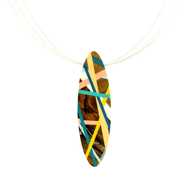 Convertible Brooch Jewelry Statement Necklace with Wood and Resin Inlay