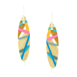 Wood Jewelry Earrings with Coloful Resin Inlay in Pink, Blue, and Teal