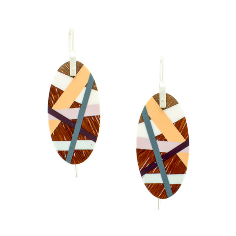 Wood Oval Earrings with Colorful Resin Inlay Handmade by Laura Jaklitsch Jewelry