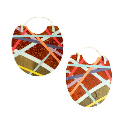 Laura Jaklitsch Jewelry Wood x Polyurethane Padauk Hoops