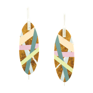 Jewelry Wood x Polyurethane Resin Peach Slate Celery Earrings