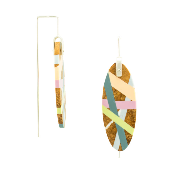 Jewelry Wood x Polyurethane Resin Peach Slate Celery Earrings Side View