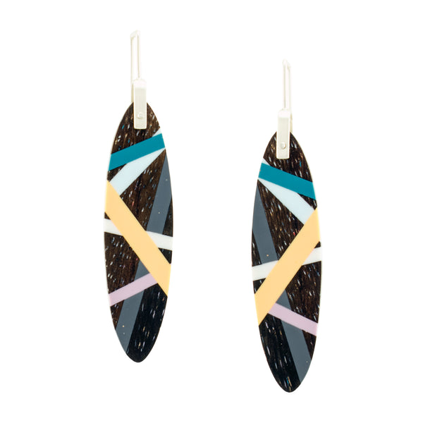 Long Oval Wood and Polyurethane Resin Peach Katalox Earrings