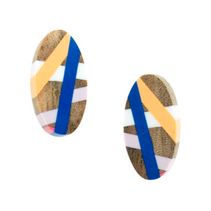 Blue Wood Stud Earrings with Inlay