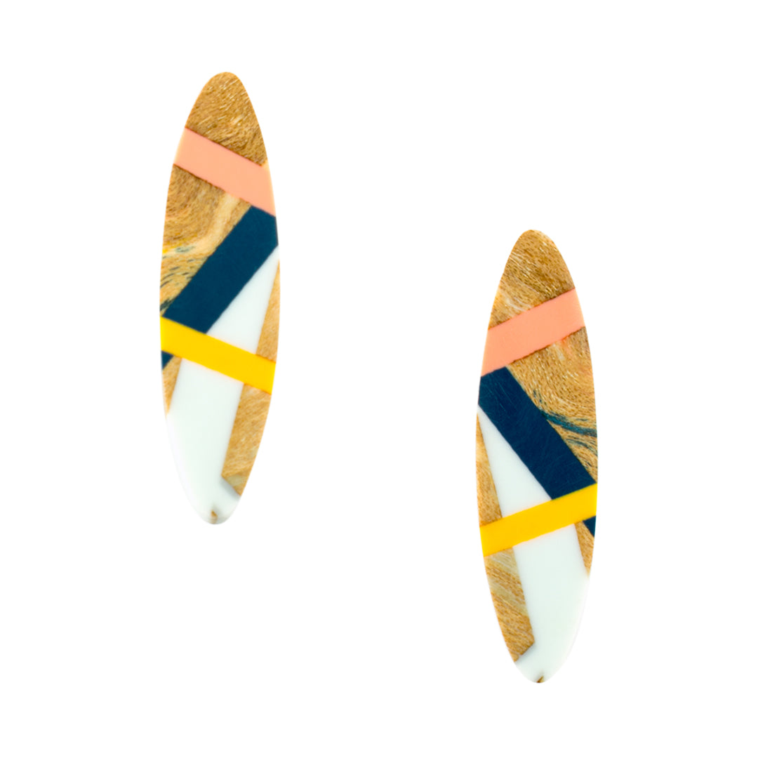 Laura Jaklitsch Jewelry Wood x Polyurethane Peach Navy Post Earrings