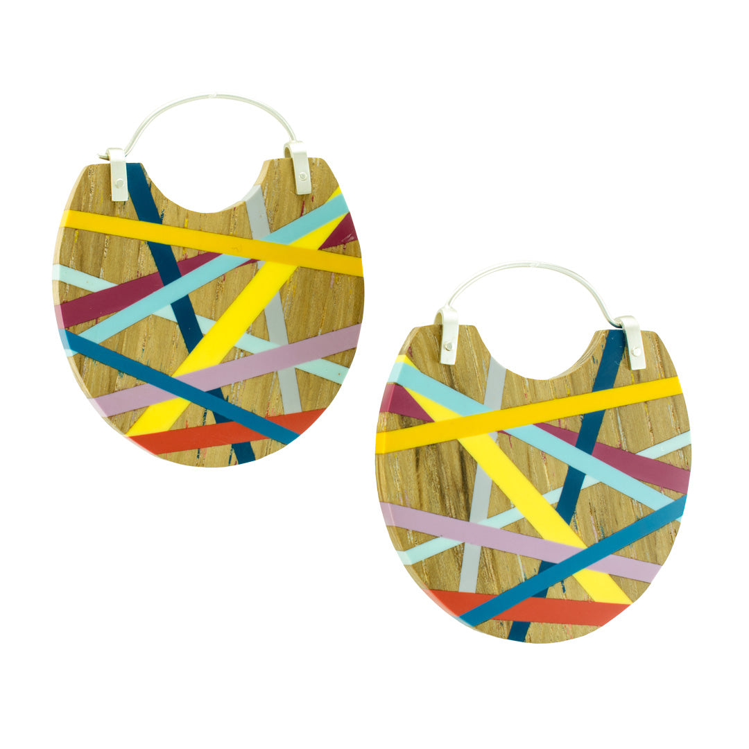 Laura Jaklitsch Jewelry Wood  Polyurethane One of a Kind Statement Hoop Earrings Blue Orange Yellow Purple Persimmon Beachy Jewelry