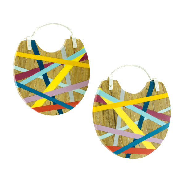 Big Earrings Wood and Resin Lightweight Hoops Handmade by Laura Jaklitsch Jewelry