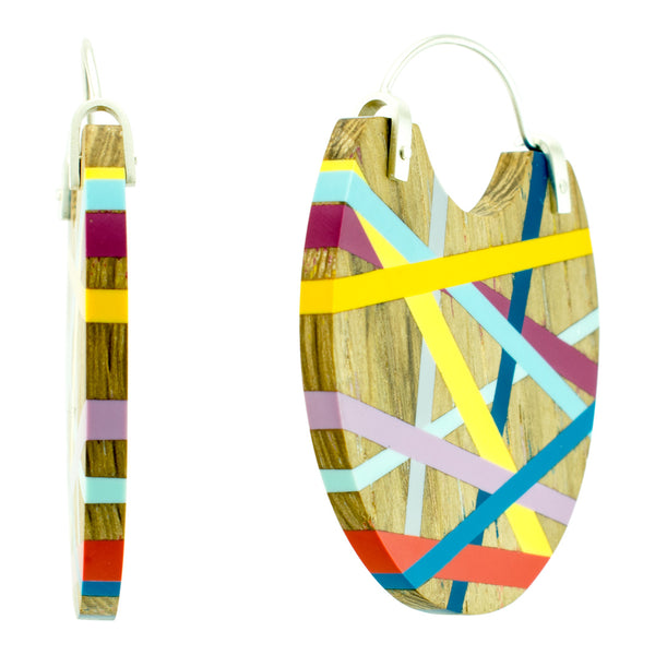 Laura Jaklitsch Jewelry Wood  Polyurethane One of a Kind Statement Hoop Earrings Blue Orange Yellow Purple Persimmon Wood Side View