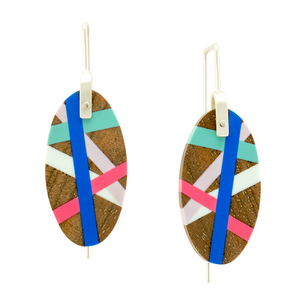 Oval Earrings Wood Jewelry with Resin Inlay Handmade by Laura Jaklitsch Jewelry