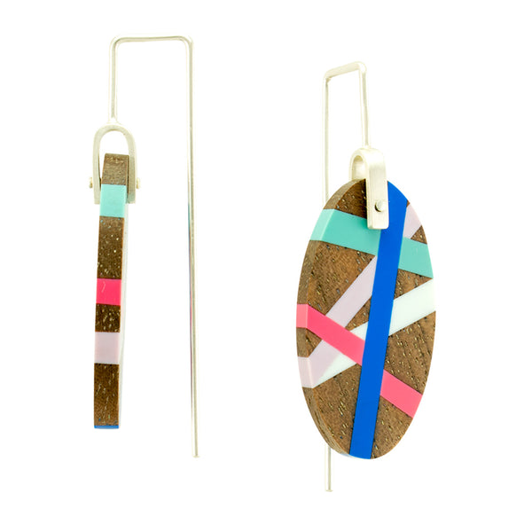 Inlay Jewelry Wood Earrings Side View