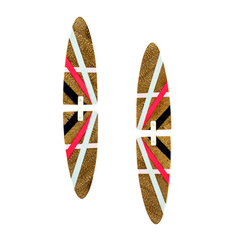 Big Earrings Long Oval Wood Jewelry with Colorful Resin Inlay
