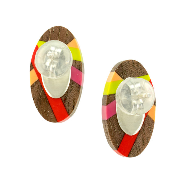 Wood Oval Earrings with Resin and Sterling Silver Backings by Laura Jaklitsch Jewelry