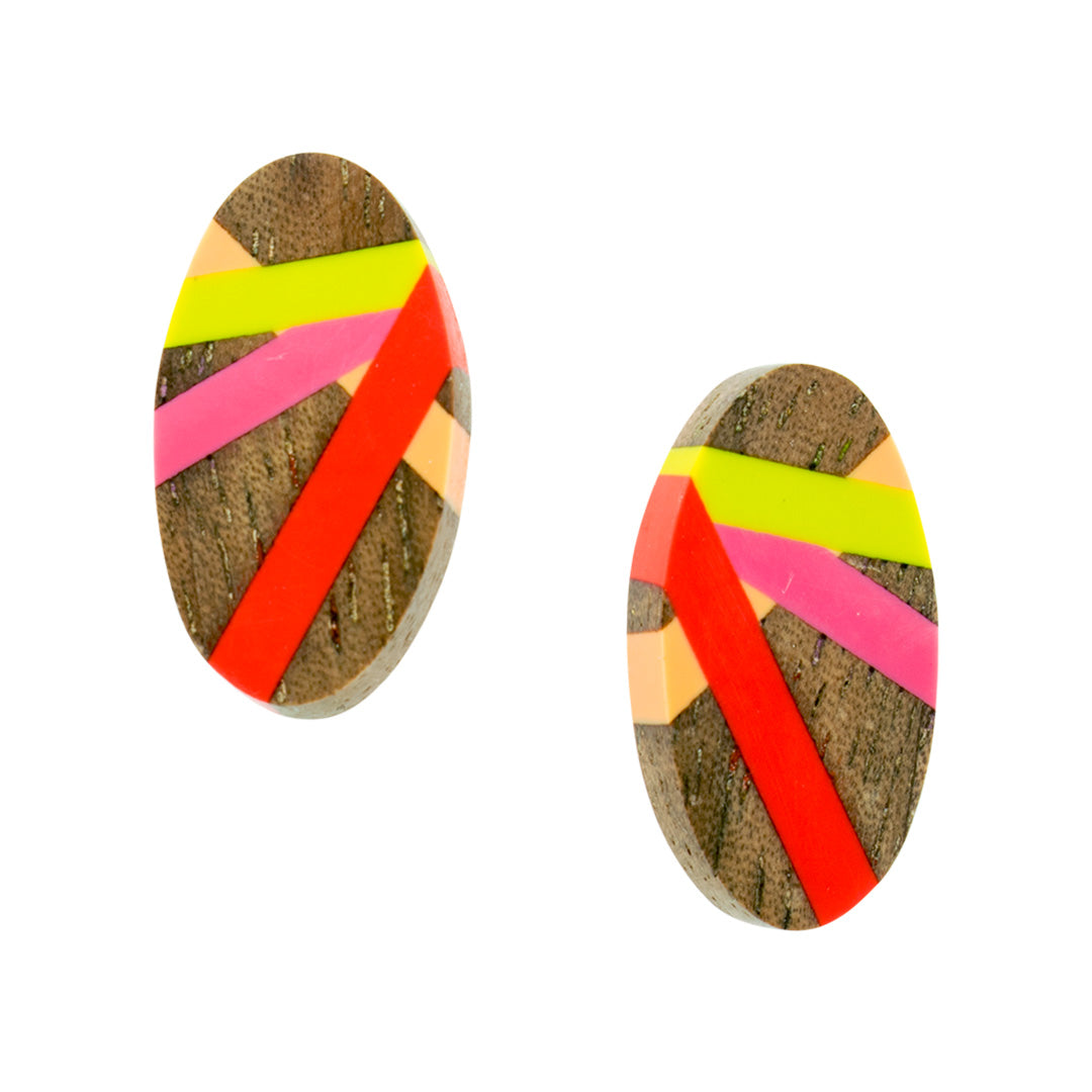 Wood Jewelry Stud Earrings with Resin Inlay in Bright Colors by Laura Jaklitsch Jewelry Makes A Unique Handmade Gift