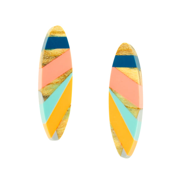 Laura Jaklitsch Jewelry Wood x Polyurethane Resin Blue Pink Orange Spalted Maple Sterling Silver Earrings Post Stud